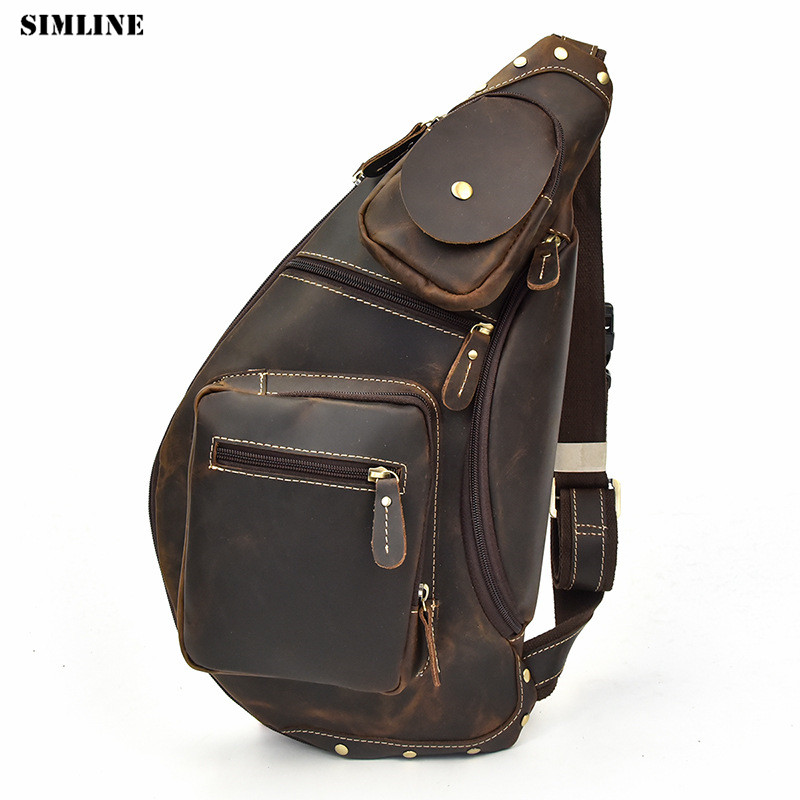 SIMLINE Vintage Genuine Leather Chest Bag Pack Men Men's Crazy Horse Cowhide Travel Shoulder Crossbody Bags Handbags For Male simline vintage genuine crazy horse leather cowhide men large capacity travel duffle bag shoulder luggage bags handbag for men