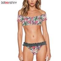 BalleenShiny 2018 New Arrival Women Swimwear Sexy Print Bandage Brazilian Bikini Off Shoulder Swimsuit Beach Ruffle