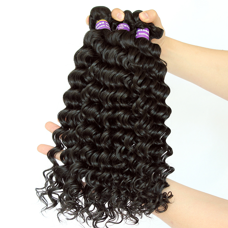 Deep Wave Brazilian Hair Weave bundles 100% Remy Human Hair Weaving 3 Bundle Deals Natural Black Cara Hair Extensions