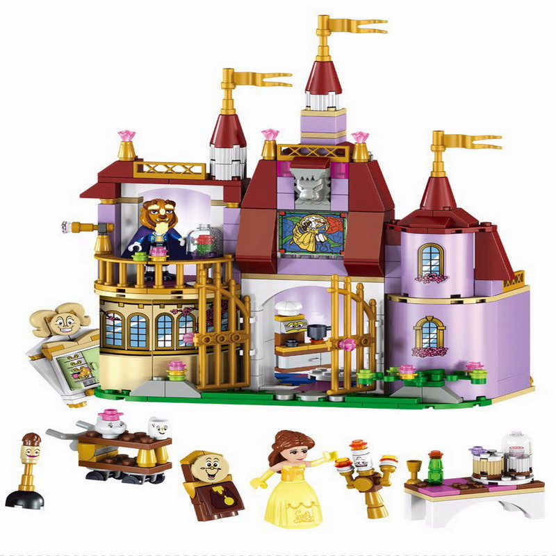 Beauty and The Beast Princess Belle's Enchanted Castle Model Building Blocks Enlighten Figure Toys For Children Compatible Legoe lis 37007 new model building kits blocks toys princess anna and prince of the castle for children gift compatible lepin 41068