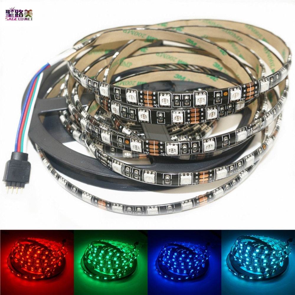 Free shipping 5m/roll 5050 Black PCB Waterproof IP65 LED strip light DC12V 60leds/m Warm white/White/RGB Flexible led Bar tape