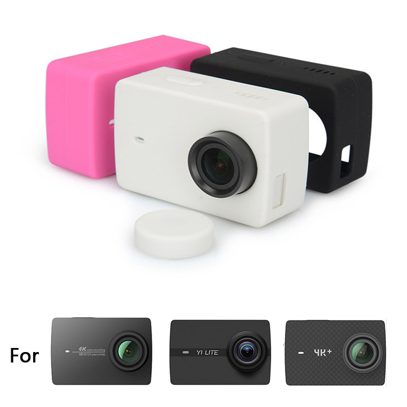 Silicone Case Cover + Lens Cap For Xiaomi YI 4K  Xiaoyi 4K Lite Yi 4K PLUS Action Sport Camera Protective Housing  Accessories