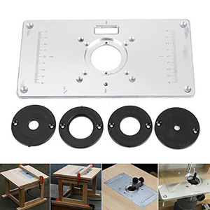 Image 2 - Router Table Plate 700C Aluminum Router Table Insert Plate + 4 Rings Screws for Woodworking Benches, 235mm x 120mm x 8mm(9.3in