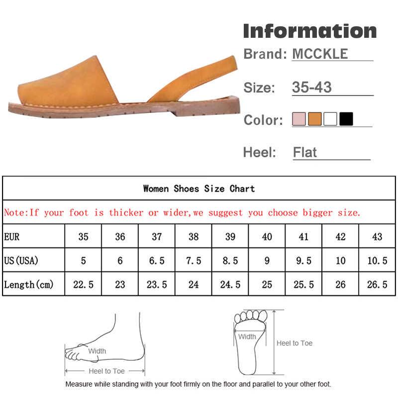 MCCKLE รองเท้าแตะฤดูร้อนผู้หญิง PLUS ขนาดแฟลตหญิง Casual Peep Toe รองเท้า Faux หนังนิ่มยืดหยุ่นแถบสันทนาการ SOLID รองเท้า