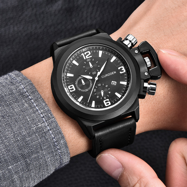 d5f2ff3a7de 1 pc lote Relógios Mens Curdden Data De Couro Relógio Marca de Moda Quartzo  relógio de Pulso Relogio masculino Montre Homme Reloj Hombre