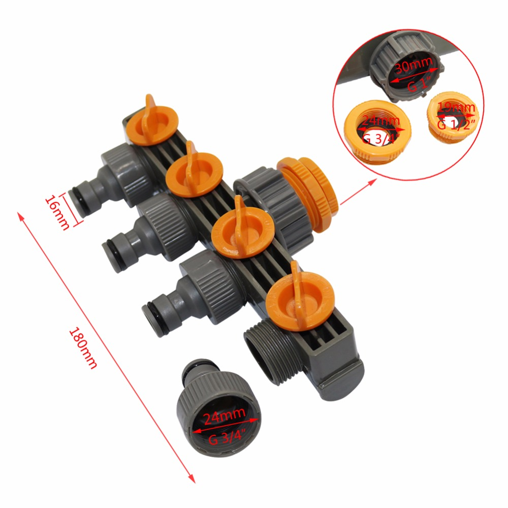 """1 to3 4 to1 2 Female Thread 4 Way Hose Splitters For Automatic Watering Water Pipe 1""""to3/4""""to1/2"""" Female Thread 4 Way Hose Splitters For Automatic Watering Water Pipe Linker Timer Garden Water Irrigation Tool"""