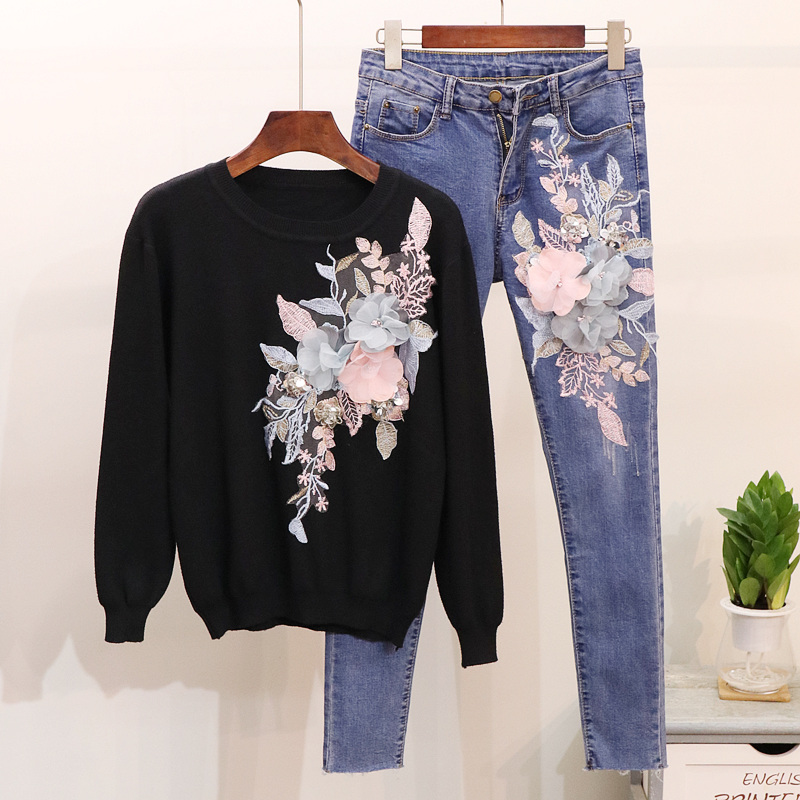 Autumn 2018 Woman's New Embroidered Sequins Flowers Knitted Sweaters Blouses + Jeans Suit Women Two piece Lady Denim Pants Sets