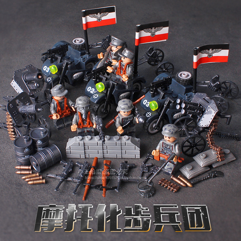 Doll 71003 Blitzkrieg Empire Motorized Infantry Regiment Military Weapons Toys For Children Building Blocks Compatible With Lego 8 in 1 military ship building blocks toys for boys