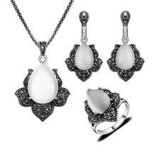 Joyería de plata Antiguo Plateado Vintage Negro Rhinestone Y Forma de Gota de Agua Sistemas de la Joyería de Piedra Natural White Opal Para Las Mujeres