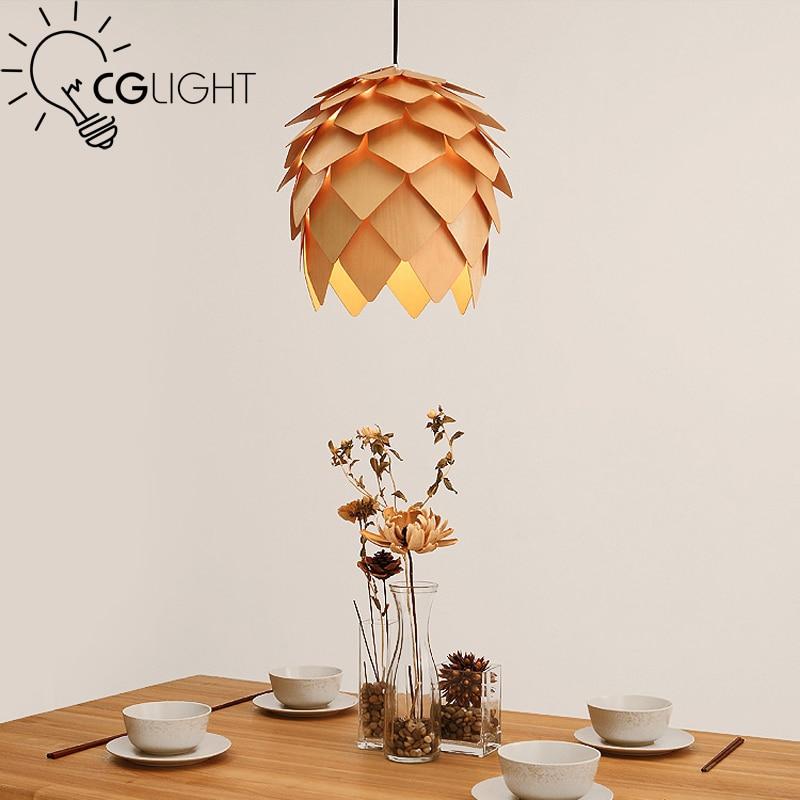 ФОТО Creative pine cone wooden pendant light Europe Hand Crafted Handmade Wood hanging lamp Japanese light For Bar Coffee Room