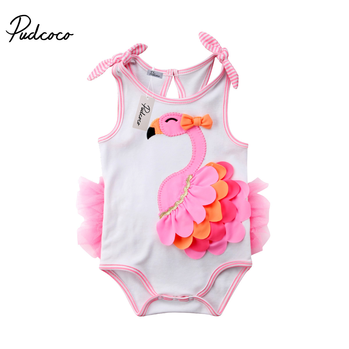 Newborn Infant Kids Baby Girl Flamingo Summer Romper Jumpsuit Playsuit Clothes A