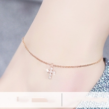Top Quality 18KGP Titanium Steel Cross Anklet Fashion Brand Women's Jewelry (GA071)