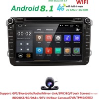 4G 2din android 8.1 car dvd forVW passat b6 golf 4 5 tiguan polo skoda octavia 2 with steering wheel controlcar radio gps wifi