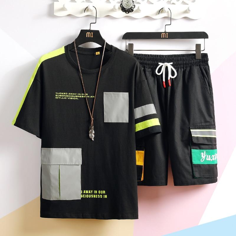 Men Set Summer Hip Hop T Shrits +Short Casual Style O Neck Half Sleeve Men Sweat Suit Two Piece Suit Men Clothing 2019