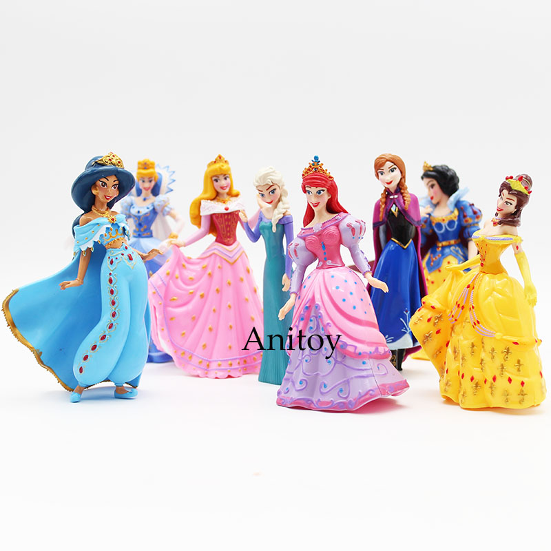 Snow White Elsa Anna 8pcs/set Merman Princess Ariel Dolls ACGN Brinquedos PVC Action Figures Child Girls Toys Gifts 12cm KT3087 new respirator gas mask safety chemical anti dust filter military eye goggle set workplace safety protection