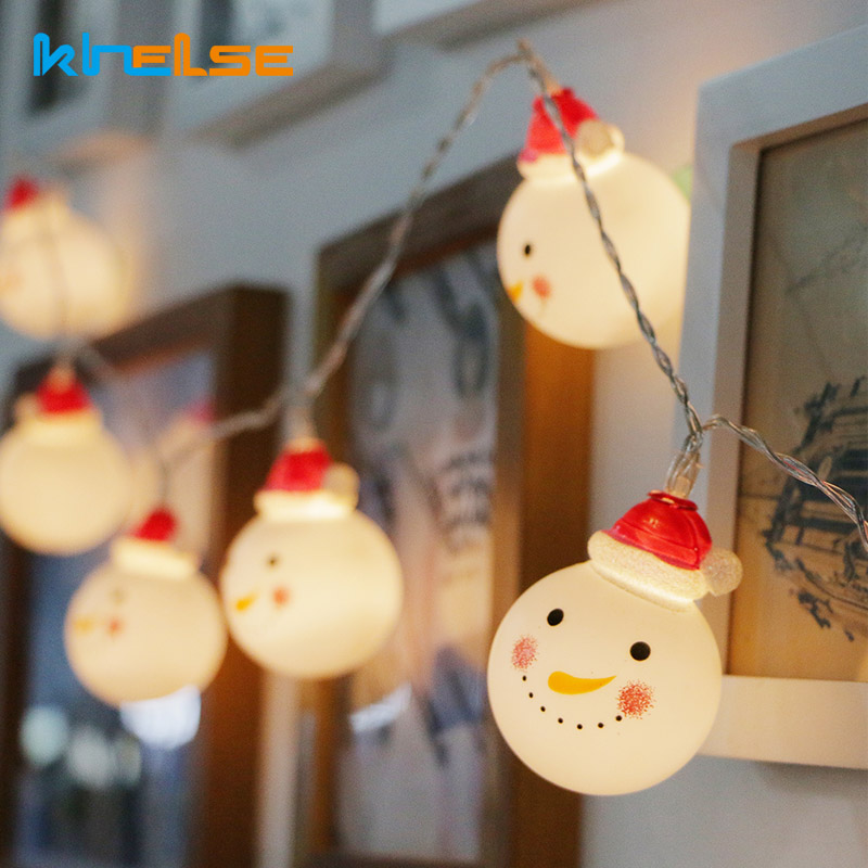 Decorative font b Christmas b font Cute 10 String Battery LED Twinkle Light Snowman Fairy Indoor
