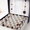 2016 Novos Acessórios Da Moda Bijoux Preto Flor do Sol Perlas Jóias Declaração Neckalce Cristal Kolye Para Casamento X078