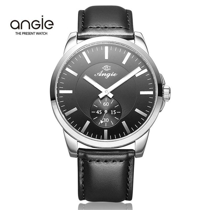 ФОТО 30 M Waterproof Angie Brand Watch Men Fashion Quartz Watch Women Luxury Business Genuine Wristwatch Leather Strap