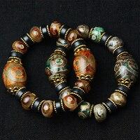 Tibétain Trois Eye Prière Perles Bracelet En Bois Naturel Bodhi Graines Evil Eye Perle Stretch Mode Bouddhisme Bracelets Zen Bijoux