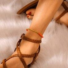 Ethic Tassel Beads Anklets Bracelets Bohemian Orange Color Resin Khaki Chain For Female Girl Gift Jewelry