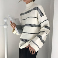 White Black Striped Sweaters Women Invierno 2019 Autumn New Turtleneck Long Sleeve Pullovers Casual Loose Ladies Sweater Winter