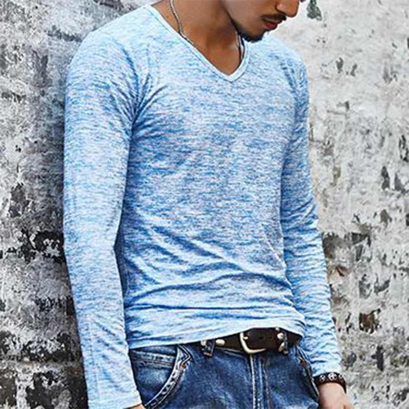 Moda listrado t camisas dos homens do esporte do verão t-shirt superior dos homens roupas 2019 modish manga longa magro tshirt sólido camisa ocasional