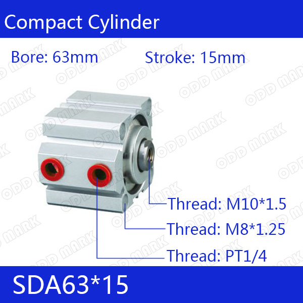 SDA63*15 Free shipping 63mm Bore 15mm Stroke Compact Air Cylinders SDA63X15 Dual Action Air Pneumatic Cylinder free shipping sda 63 95 63mm bore 95mm stroke double acting valve actuator cylinder pneumatic sda63 95 compact air cylinders