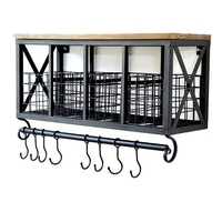 Industrial Retro Urban Iron Wall Mount Kitchen Storage Shelf Mug Hooks Rack Rail Bathroom Hanging Organizer Wooden Top