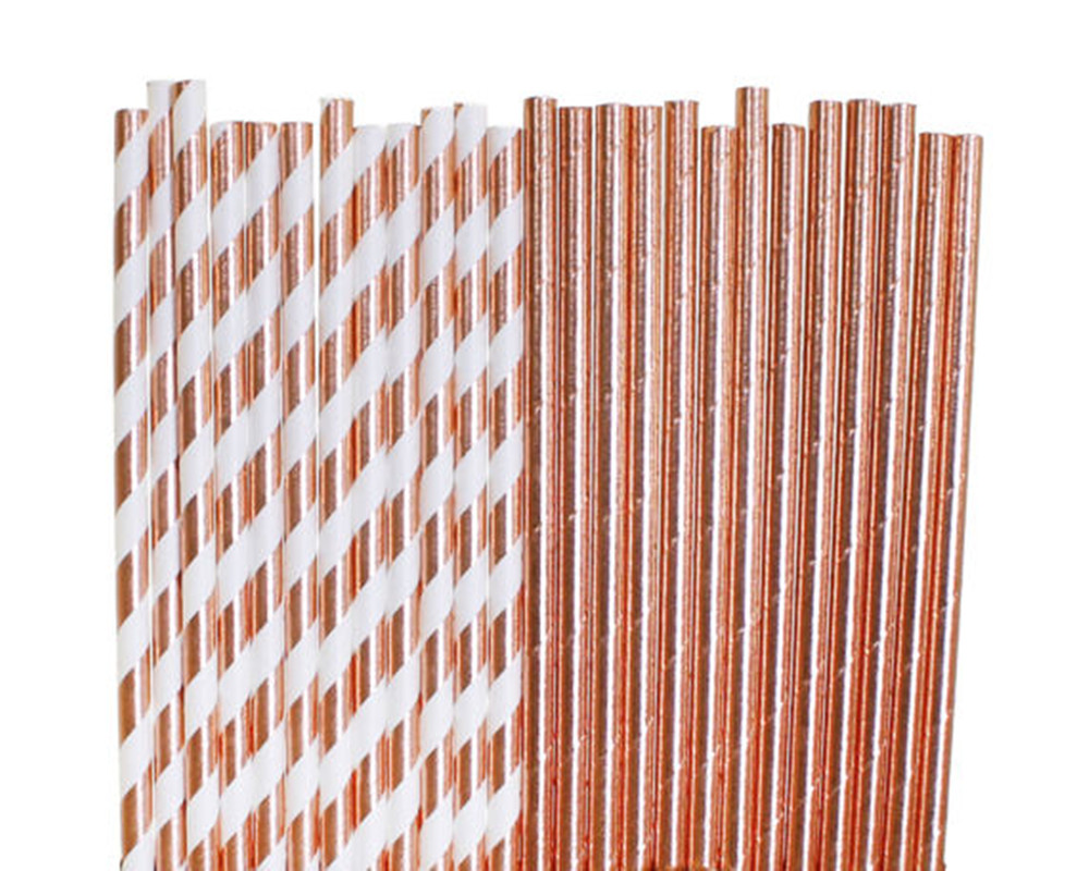 50pcs Rose Gold Paper Straws Bridal Shower 1st Birthday party Party Decorations baby shower glam wedding