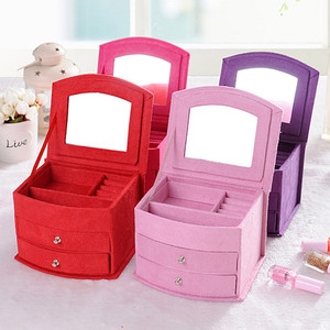 Image 5 - Sıcak satış yüksek kalite kadife üç kat taşınabilir çok fonksiyonlu kolye yüzük takı kutuları moda tasarım hediye kutusu
