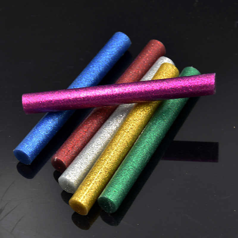 6pcs 11mm Hot Melt Glitter Glue Stick For Electric Glue Gun Craft Phone Case DIY Repair Accessories For Picture Toy