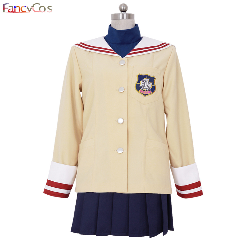 Halloween CLANNAD Tomoyo Kotomi Fuko Nagisa Kyou Uniform Dress Cosplay Costume Anime Movie High Quality Custom Made