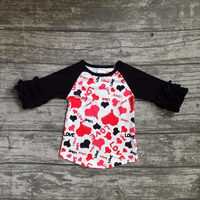 Baby Girls Clothes Raglan Tops V Day Raglan Girls Red Heart Raglans Autumn Top Girls