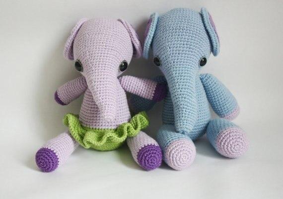 2pcs Amigurumi Elephant Slover Boys And Girls Toegher  Rattle