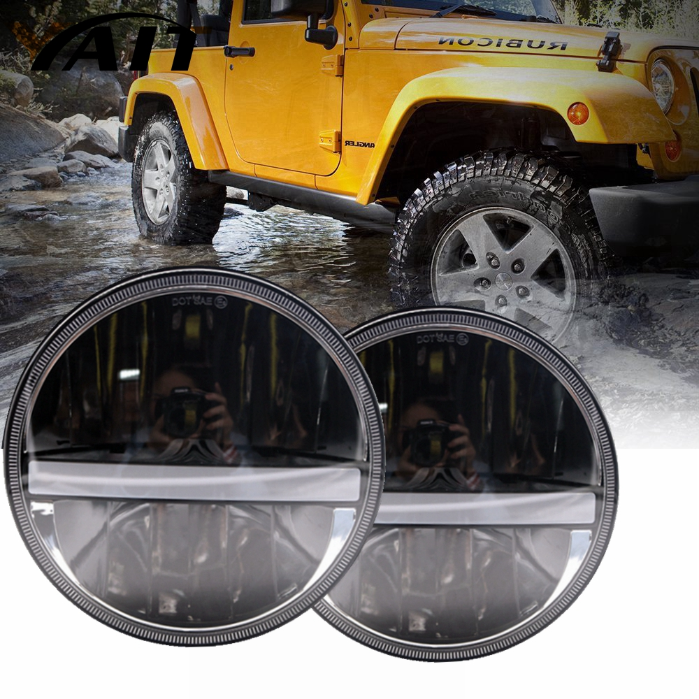 Yait For VAZ 2101 lada 7 Inch LED Headlights with White Halo Ring Angel Eyes+Amber Turn Signal Halo For Jeep Wrangler JK TJ CJ pair 7 inch round high low led headlight with amber signal halo ring angle eyes with drl halo for 97 15 jeep wrangler jk tj