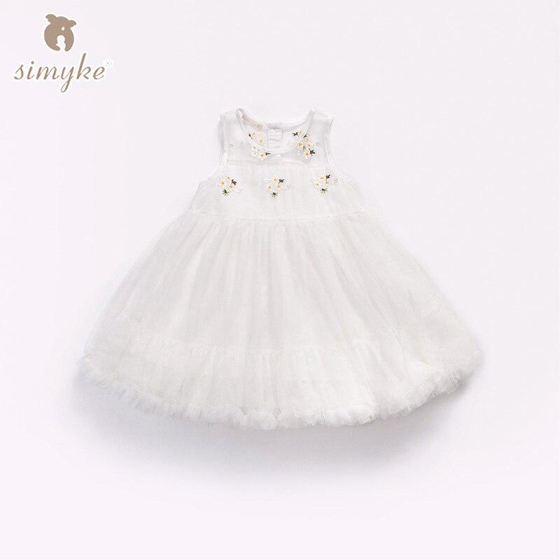 Simyke Elegant Kids Toddler Flower Dresses Girls Lace Dress Pageant Wedding Children Lace Princess Tutu Dress Kids Cloth W8769