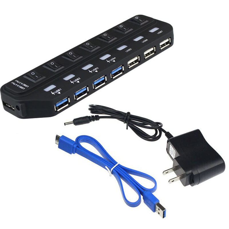 Vendita calda 7 porte Super Speed 5Gbps USB 3.0 + USB 2.0 HUB con alimentatore per PC portatile