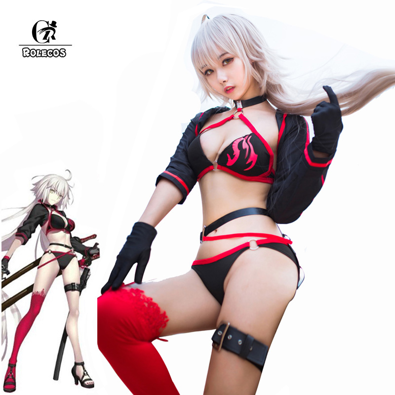 ROLECOS Fate Grand Order Cosplay Costume Jeanne d'Arc Swimsuit Joan of Arc Cosplay Costume FGO Women Swimwear Bikini Halloween