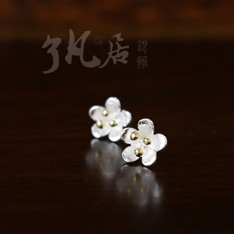 New explosion of S925 pure silver plated flower color silver earrings earrings with orchid Tremella block