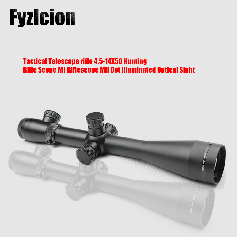 New Tactical Telescope rifle 4.5-14X50 Hunting Rifle Scope M1 Riflescope Mil Dot Illuminated Optical Sight air guns China tactial qd release rifle scope 3 9x32 1maol mil dot hunting riflescope with sun shade tactical optical sight tube equipment