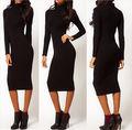 2016 мода новый стиль Женщины Сексуальный Черный Хип Стрейч С Длинным Рукавом Черепаха Шеи Платье Карандаша