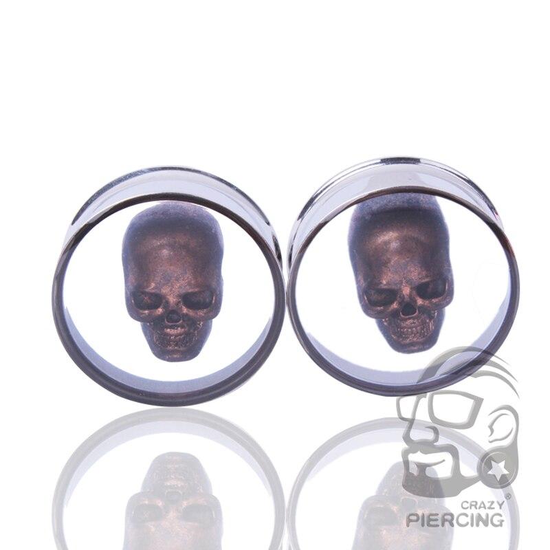 3D Skull Steel Double Flare Plugs and Tunnels Saddle Ear Gauge Flesh Tunnel Body Ear Expander Piercing Jewelry Oreja 10-25mm