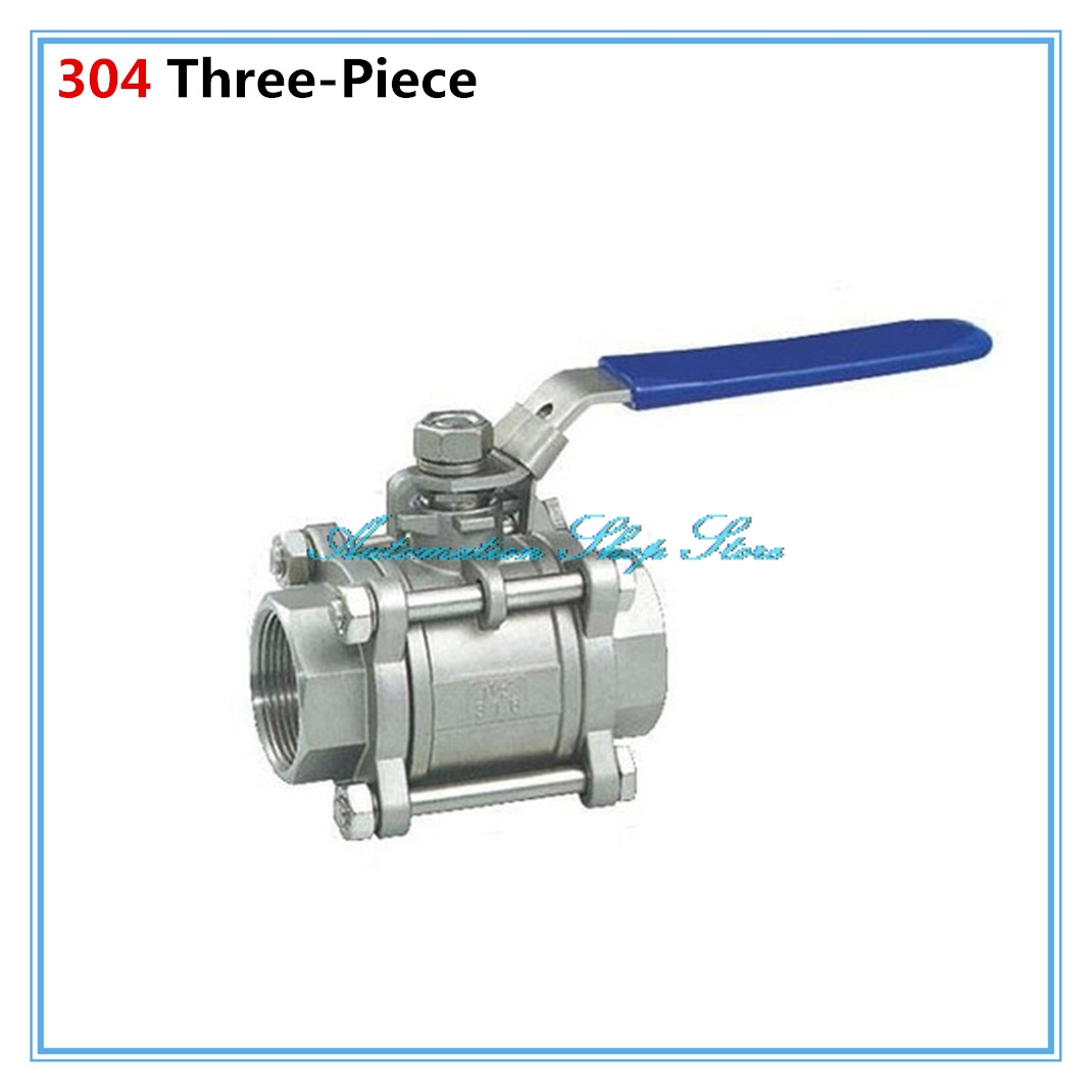 Stainless Steel SS 304 Pipe Three-Piece Ball Valve Female Threaded 1/2