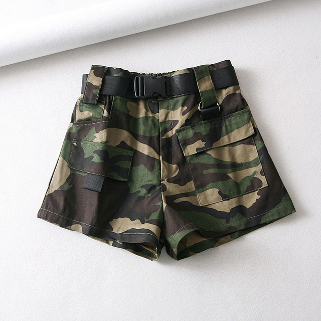 Summer cotton high waist shorts for women fashion belt shorts vintage sexy cargo shorts biker pocket shorts 2019 Korean version 5