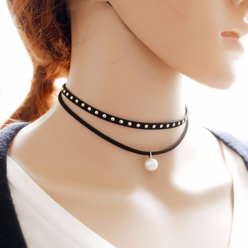 19 New hollow Designs Velvet Chokers Necklace Black Leather Rope Chain layer Chocker Vintage Jewelry for women Collier femme 14