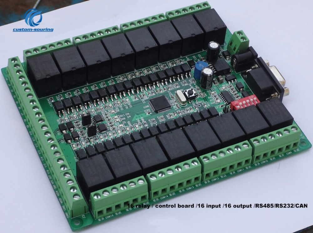 1PC Relay Control Board with 16 Input 16 Output support RS485 RS232 CAN 12V 24V NPN PNP input Free shiping