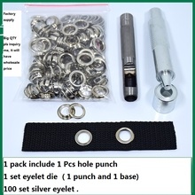 Free Shipping 100 set silver eyelet and Eyelet Punch Die Tool Set for Leather Craft Clothing Grommet Banner - 4mm - 20mm