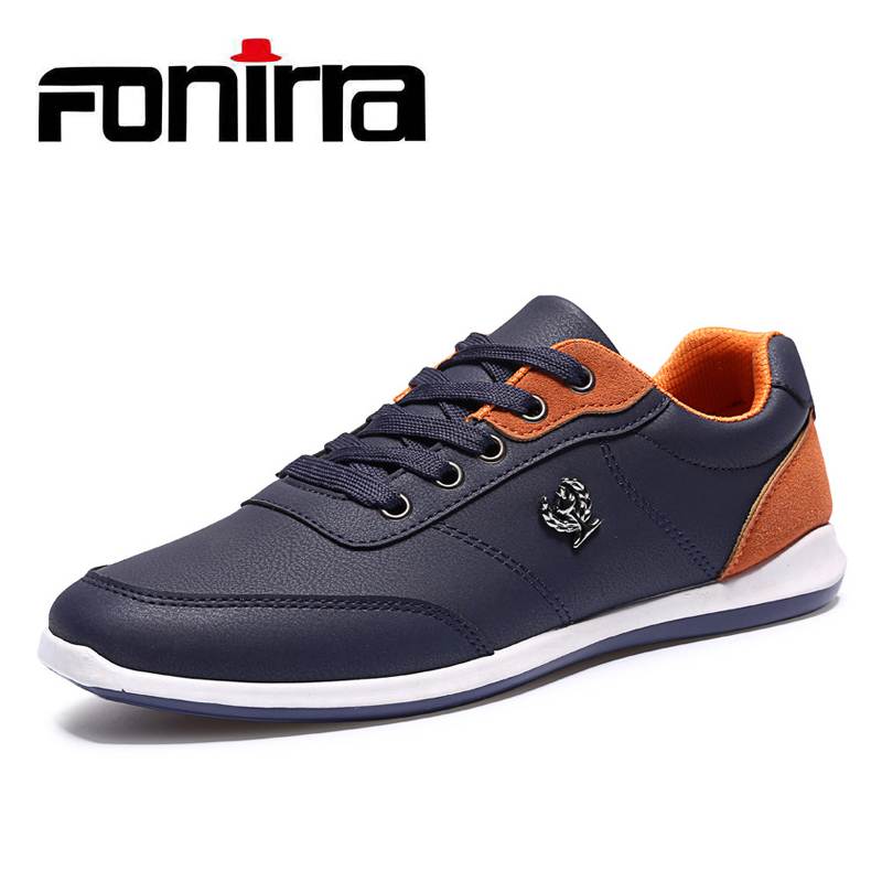 FONIRRA 2017 PU Leather Men Shoes Spring Autumn FAshion Men Casual Shoes Solid Lace Up Men's Low Flats Shoes Male Footwear 173 new 2017 high quality men pu leather flats lace up fashion casual sport jogging flat shoes loafers soft light male footwear