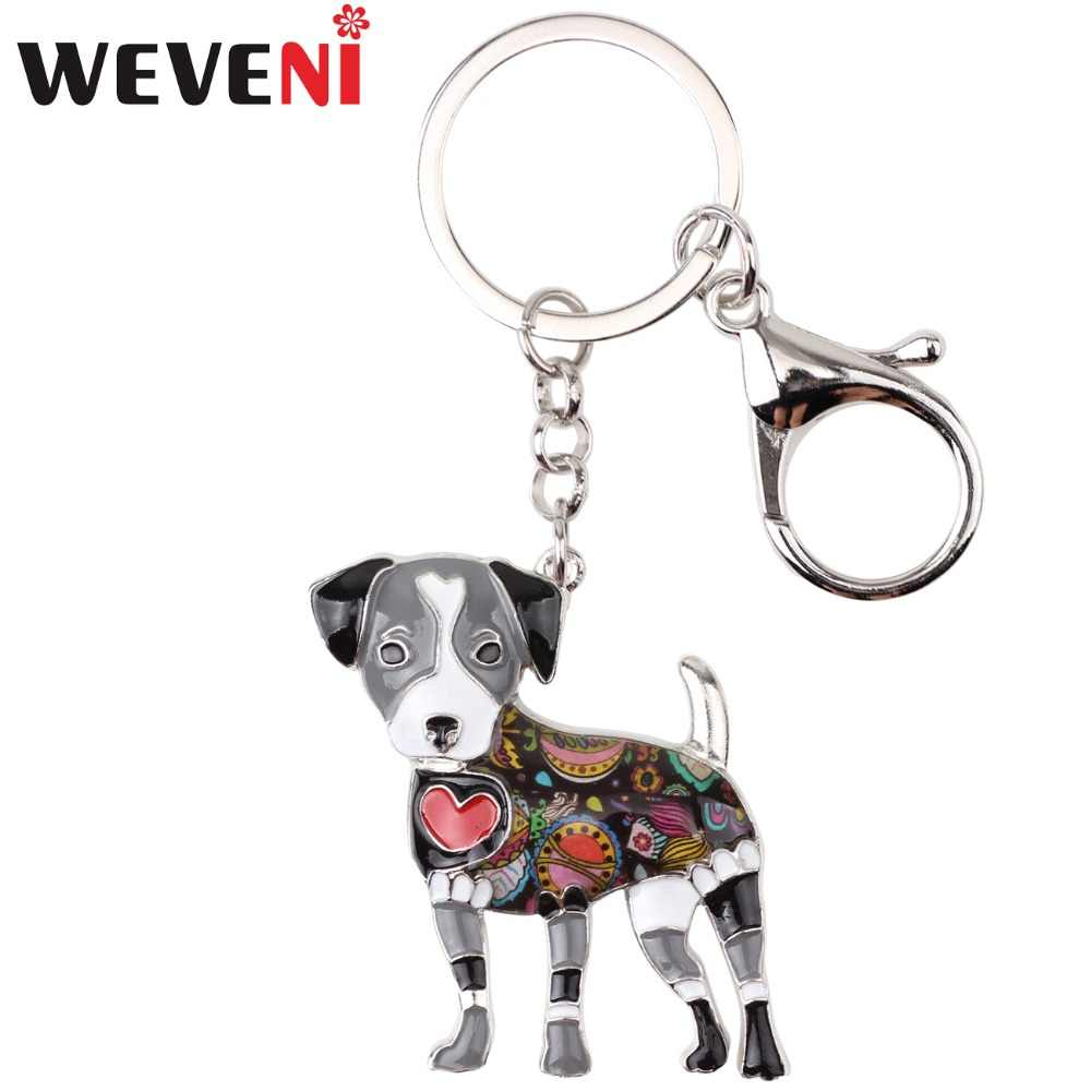 WEVENI Enamel Metal Jack Russell Dog Key Chain Key Ring Bag Charm New Fashion Jewelry For Women Man Car Keychain Accessories
