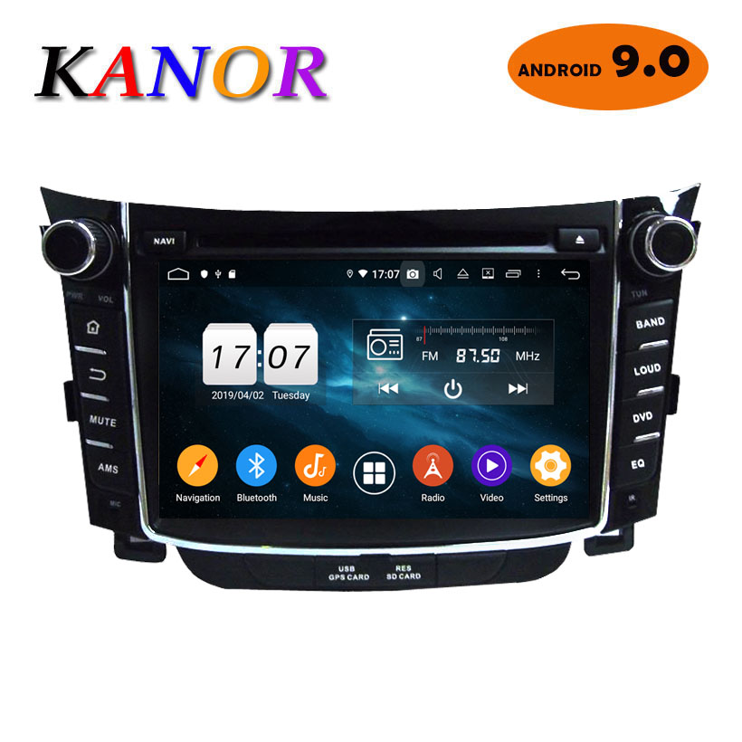 2 din Android 9.0 Octa Core pour Hyundai I30 voiture DVD GPS système de Navigation avec Radio stéréo Bluetooth miroir lien KANOR